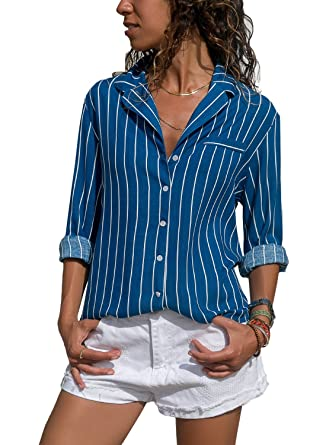 9845b42ffdb HOTAPEI Womens Casual V Neck Vertical Striped Button Down Chiffon Long  Sleeve Blouses and Tops T