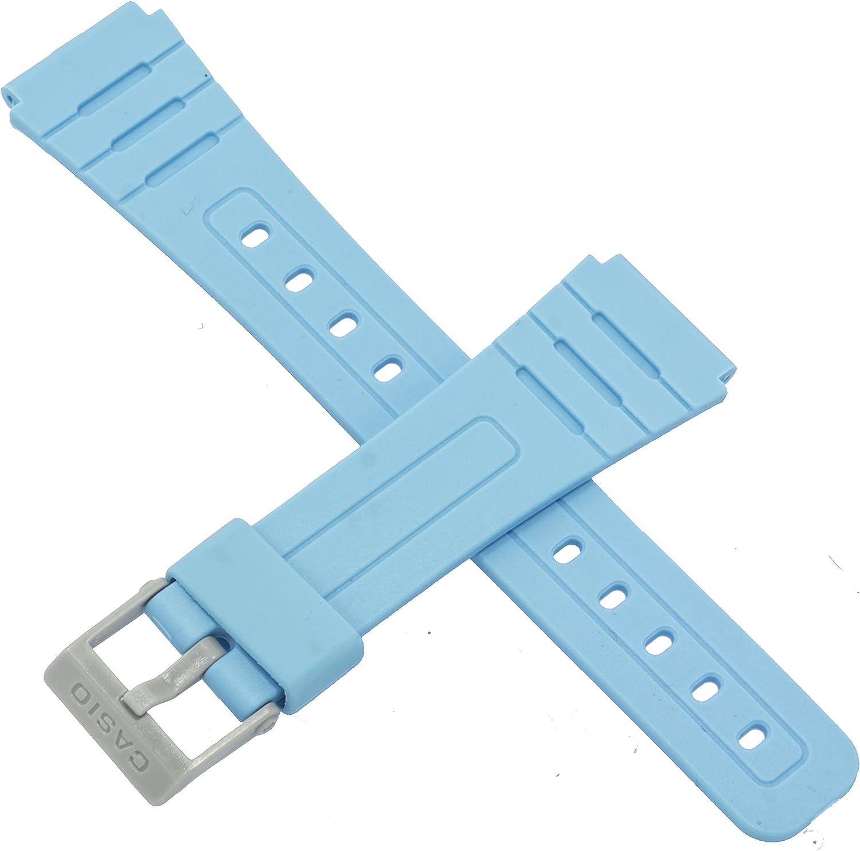 Correa de reloj Casio genuina para F-91WC-2A F 91WC 91, color azul brillante