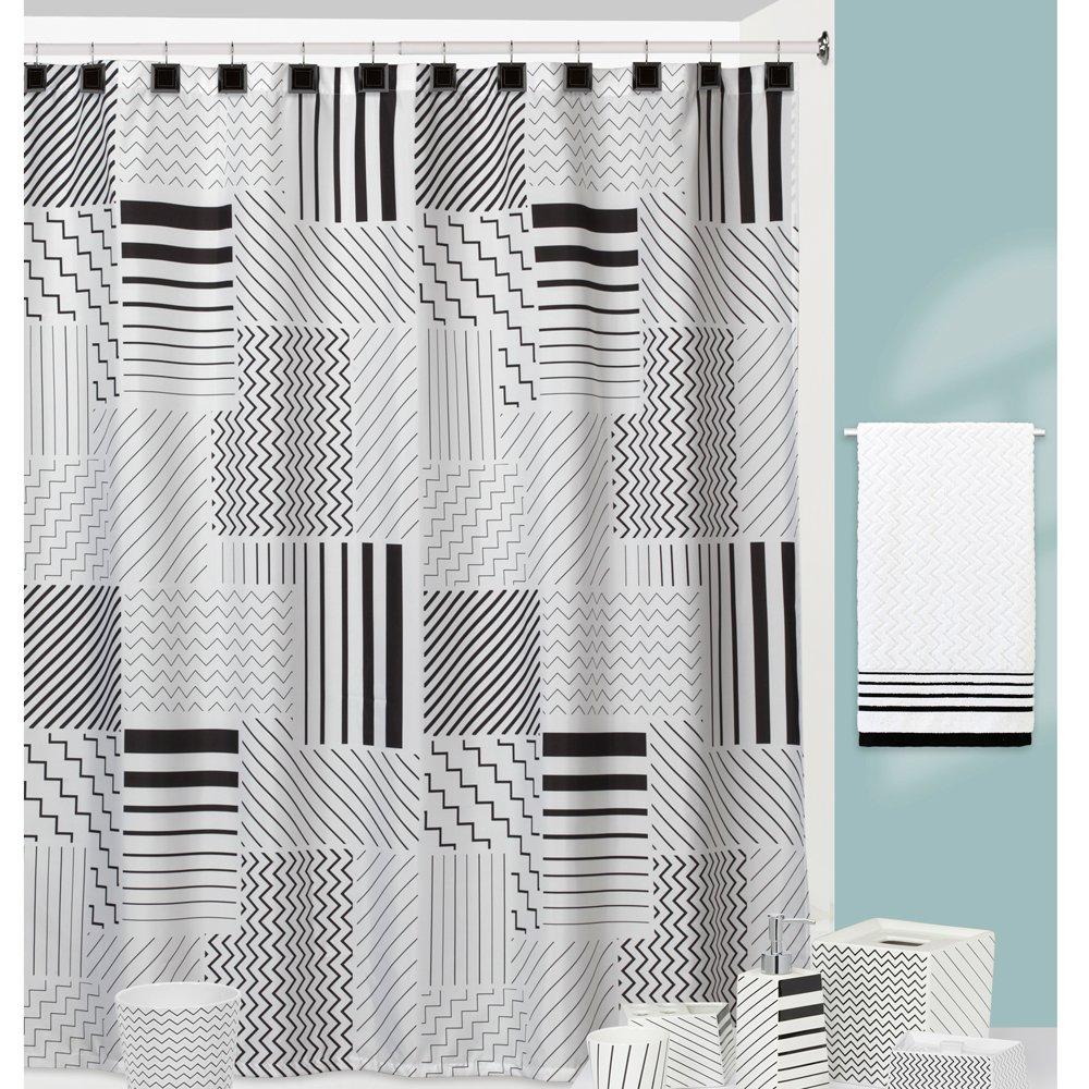Modern Angles Black/White Shower Curtain