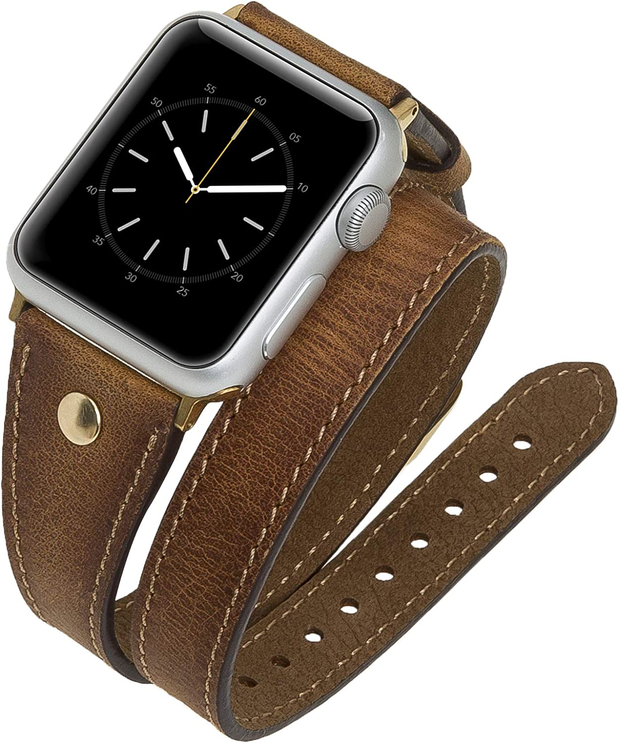 Venito Savona Double Wrap Leather Slim Watch Band w/Gold Stud Compatible with Apple Watch iwatch Series 6 as well as as Series 1, 2, 3, 4, 5 (Antique Brown w/ Gold Stainless Steel Hardware, 38mm-40mm)
