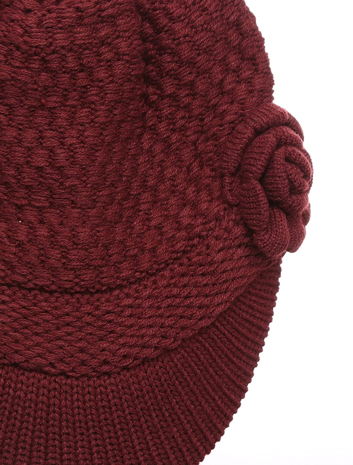 e5e8efcdd566a MIRMARU Women s Winter Cable Knitted Beret Visor Beanie Hat with Scrunchy.  Beige) MM- larger image