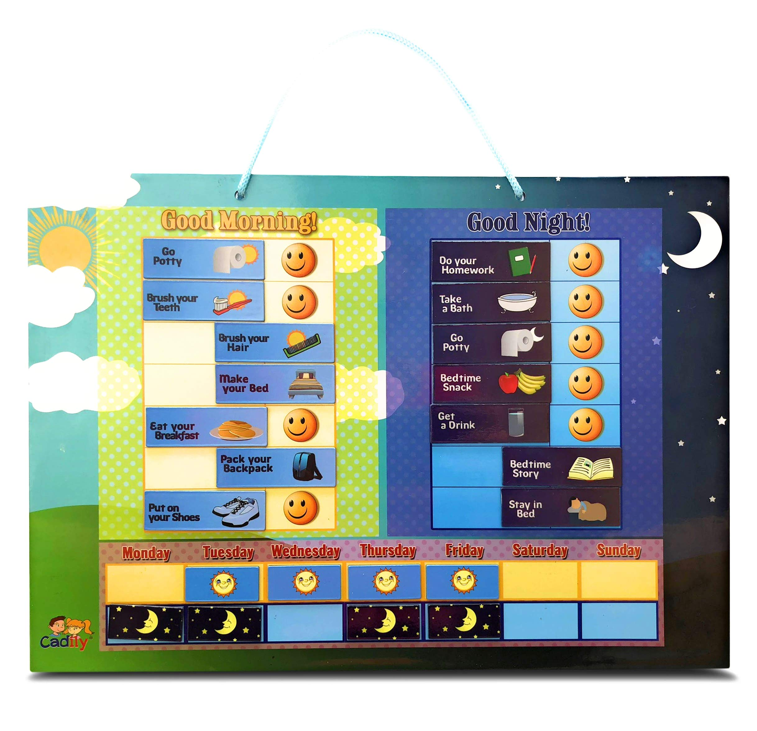 Cadily Magnetic Day & Night Responsibility Chart for Kids | Reward Good Habits with a Morning & Night Time Checklist for Kids & Toddlers