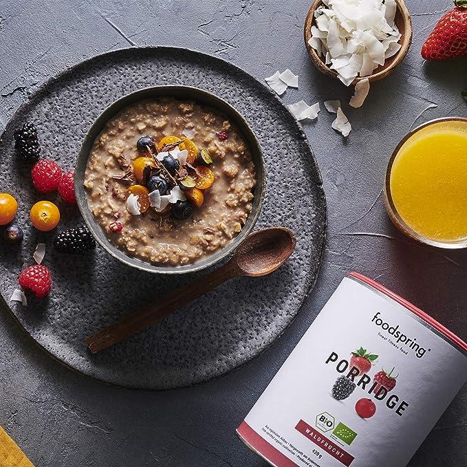 foodspring Porridge proteico, Orgánica Frutas del Bosque, 420g ...