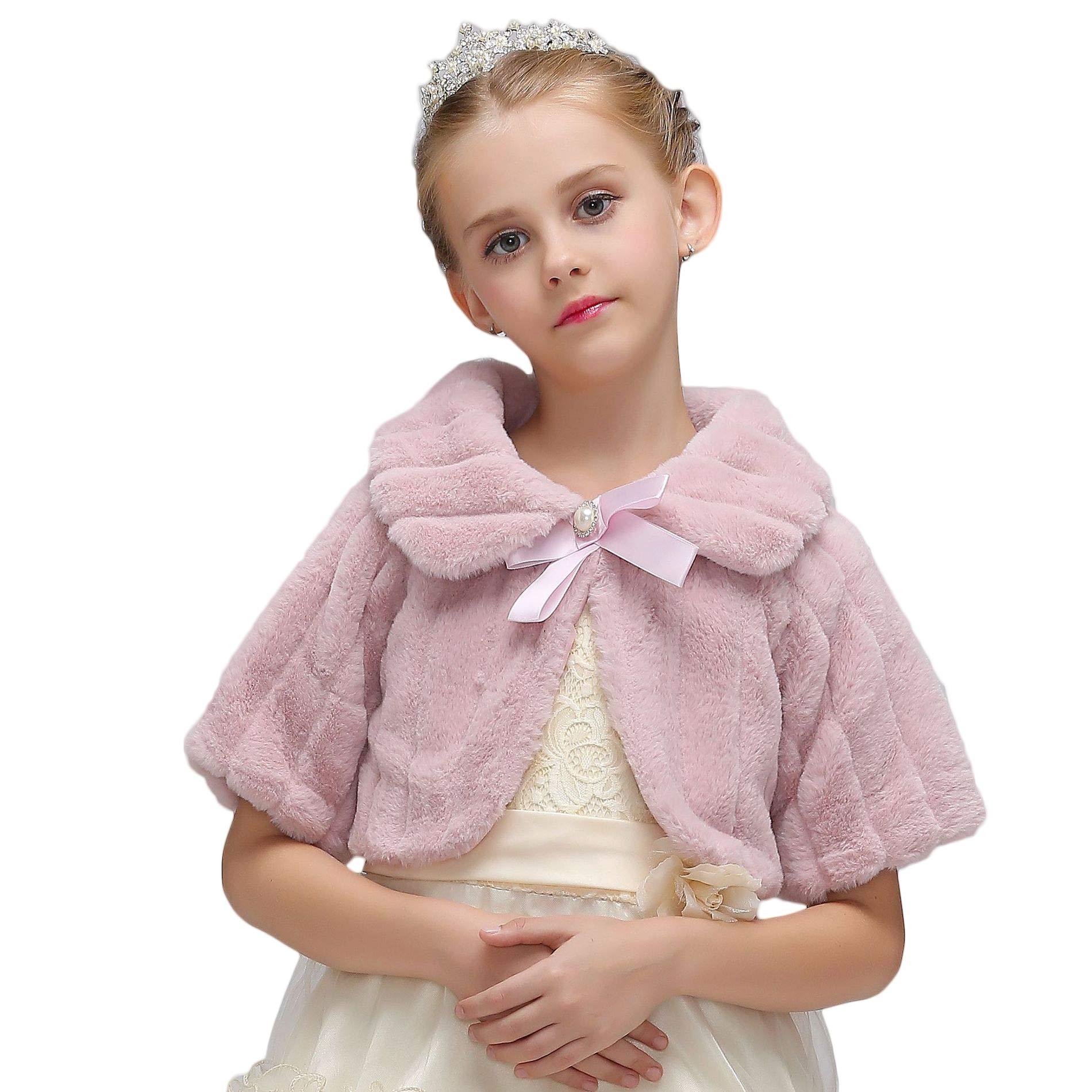 Vicokity Girls Faux Fur Winter Warm Shawls For Wedding Party Dress Girl's Princess Dress Shawl Jacket (Nude Pink, XXXL)