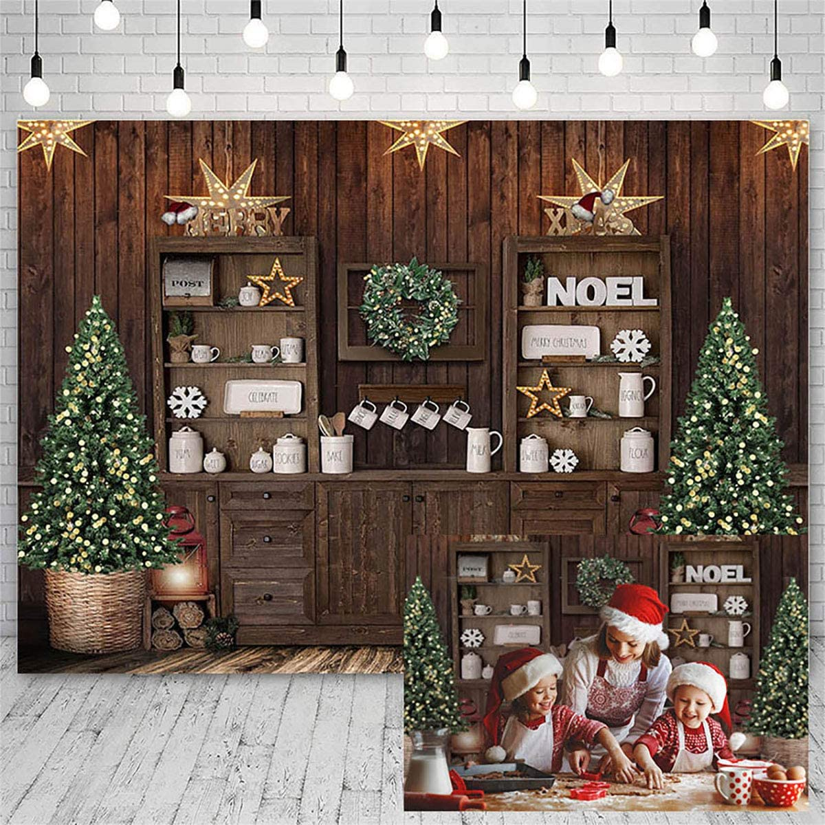 Mocsicka Christmas Kitchen Photography Backdrop Retro Wood Wall Cooking House Family Party Background Pine Tree Decoration Xmas Baby Kids Portrait Photo Studio Photobooth Props (7x5ft)