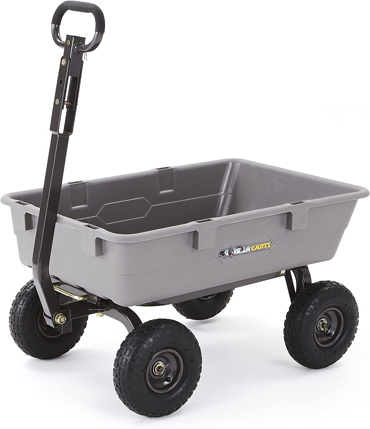 Gorilla Carts Poly Garden Dump Cart with Steel Frame and 10 Pneumatic Tires,800-lbs. Capacity, Gray