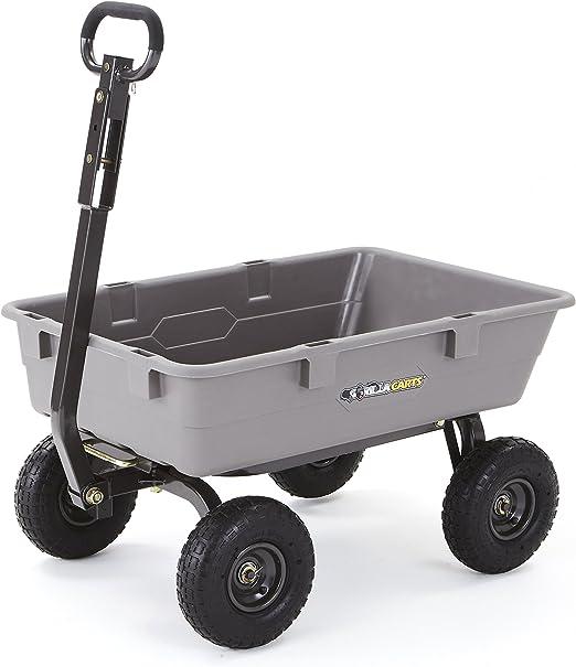 Carros de Gorila Poly Carro de jardín camión volquete con Marco de Acero y Ruedas neumáticas de 10 Pulgadas con una Capacidad de 800 kg, Gris: Amazon.es: Jardín