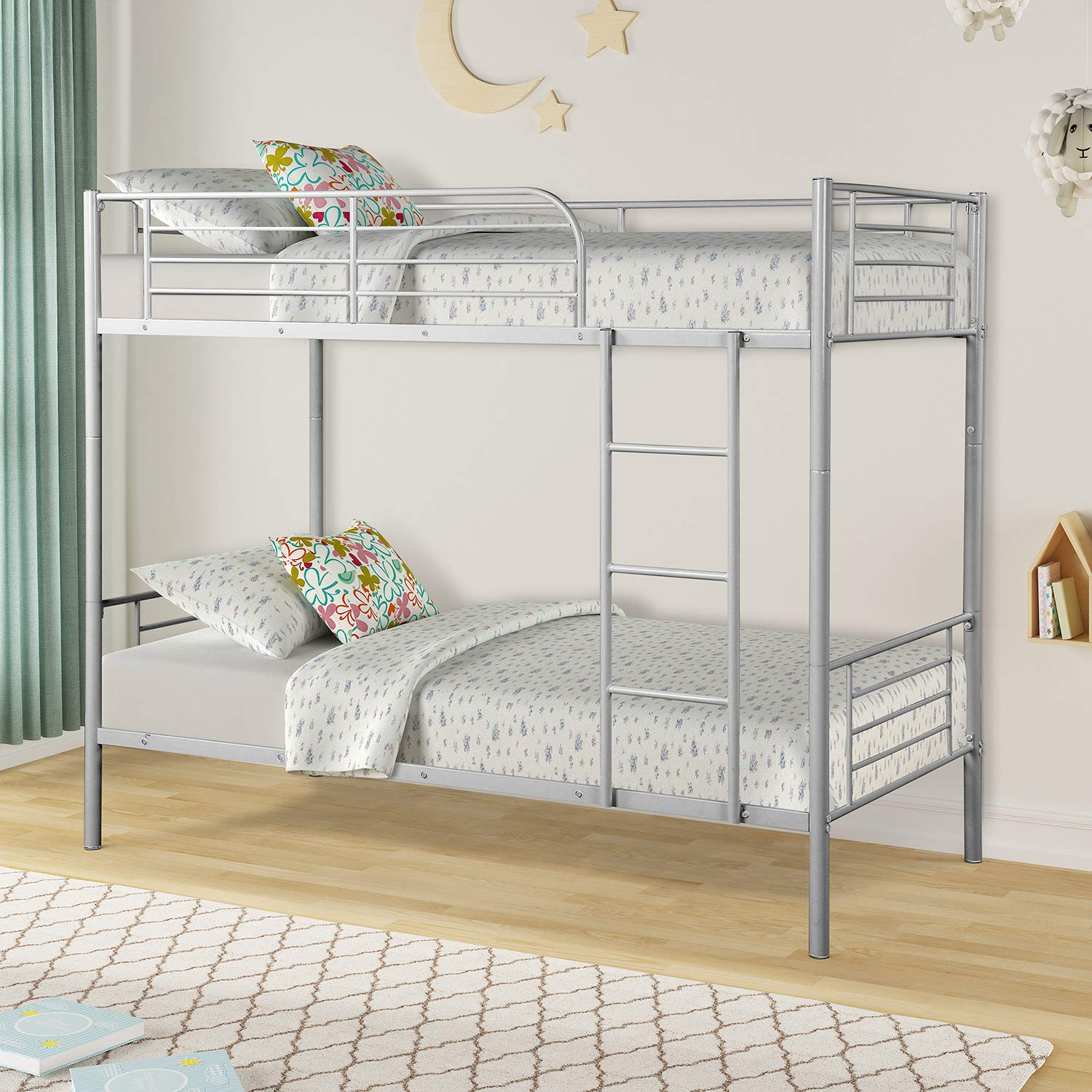 Twin Over Twin Metal Bunk Beds, Rockjame Space Saving Design Sleeping Bedroom Twin Bed with Ladder and Safety Rail for Boys, Girls, Kids, Young Teens and Adults (Sliver)