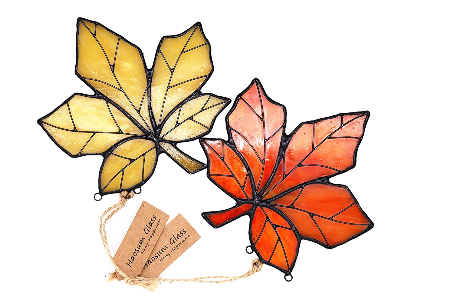HAOSUM Stained Glass Ornament Window Hanging Pack of 2 Maple Leaf Glass Suncatcher Handmade 4X4.4 Inches Haosum Art Glass Factory