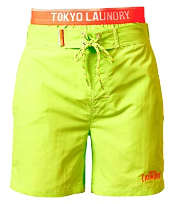 229a032547 Tokyo Laundry Mens Beach Surf Board Casual Summer Swim Shorts 1S 3972-A,  Neon Green, Medium: Amazon.co.uk: Clothing