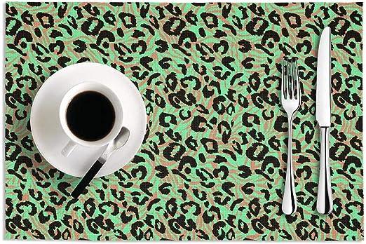 MAD DAFGA - Juego de 2 manteles Antideslizantes para Mesa de Comedor (PVC), diseño de Leopardo, Estampado de Cebra, Color Verde: Amazon.es: Hogar