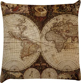 Amazon.com: Vintage mapa del mundo decorativo funda de ...