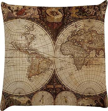 Amazon.com: Vintage mapa del mundo decorativo funda de ...