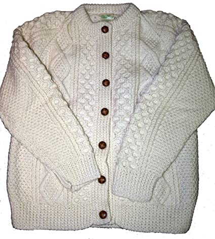 f342227af794e8 Amazon.com  Traditional Aran Handknit Lumber Jacket Unisex  Garden   Outdoor