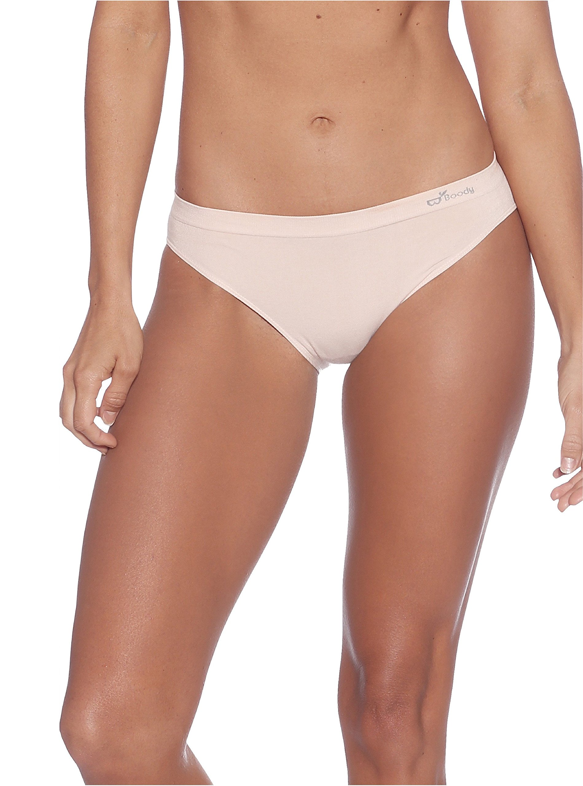 Boody Body EcoWear Women's Classic Bikini Seamless Underwear Made from Natural Organic Bamboo Viscose – Soft Breathable Eco Fashion for Sensitive Skin - Beige, Extra Small
