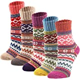 Zxsales 5Pack Womens Vintage Winter Soft Warm Thick Cold Knit Wool Crew Socks, Multicolor, free size