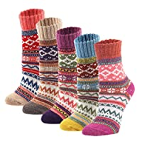5Pairs Women's Vintage Style Winter Cold Soft Warm Thick Knit Wool Crew Socks