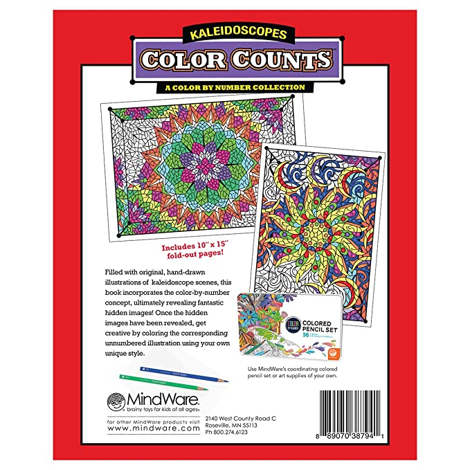 Amazon Mindware Color By Number Color Counts Kaleidoscopes