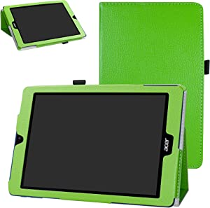 Acer Chromebook Tab 10 Case,Bige PU Leather Folio 2-Folding Stand Cover for Acer Chromebook Tab 10 Tablet,Green