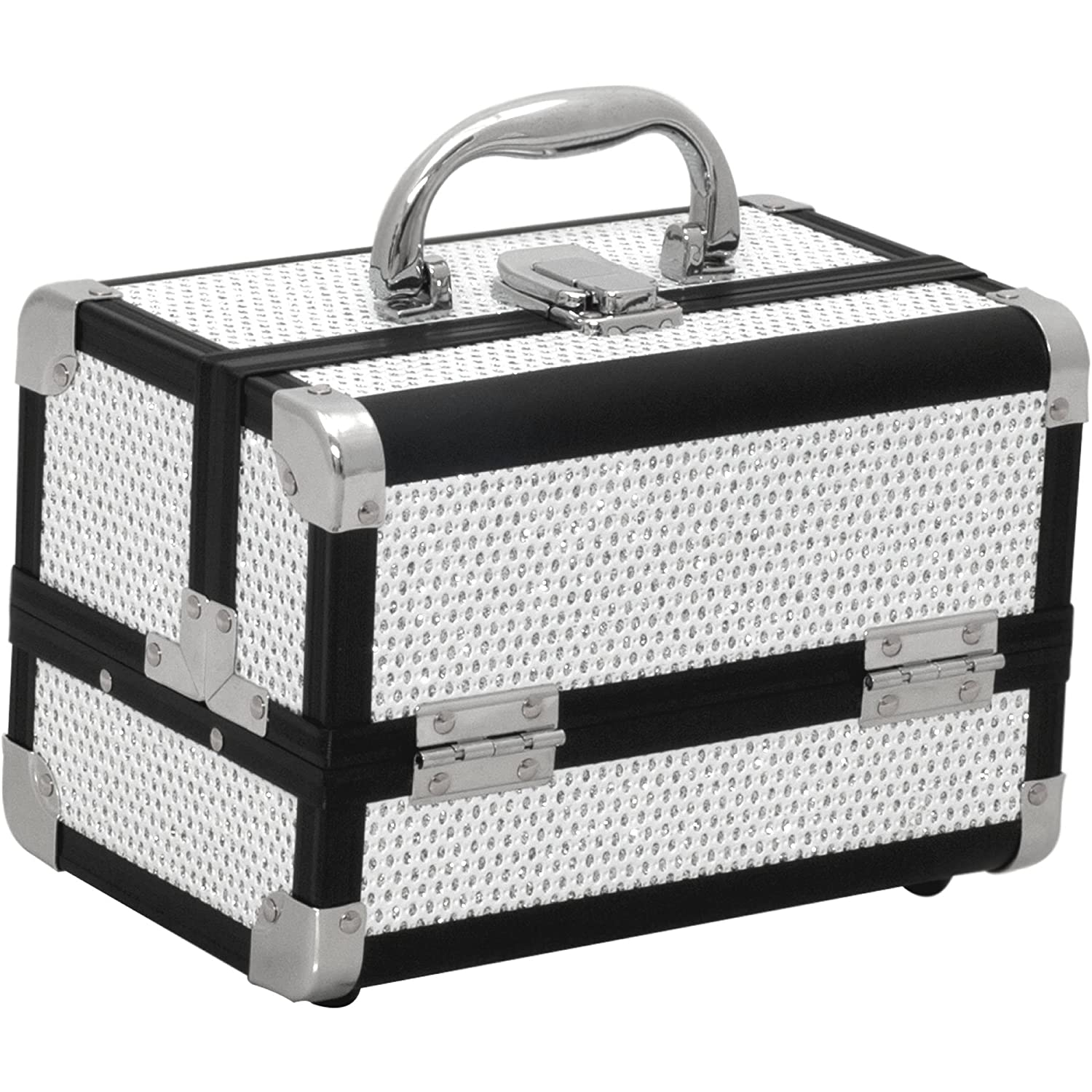 Just Case m1001 Mini Makeup Cosmetic Train Case Organizer Storage Easy Clean with 2 Trays and Mirror Krystal White M1001KLWB