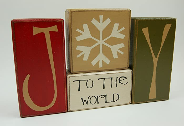 primitive country wood stacking sign blocks seasonal christmas decor joy to the world snowflake