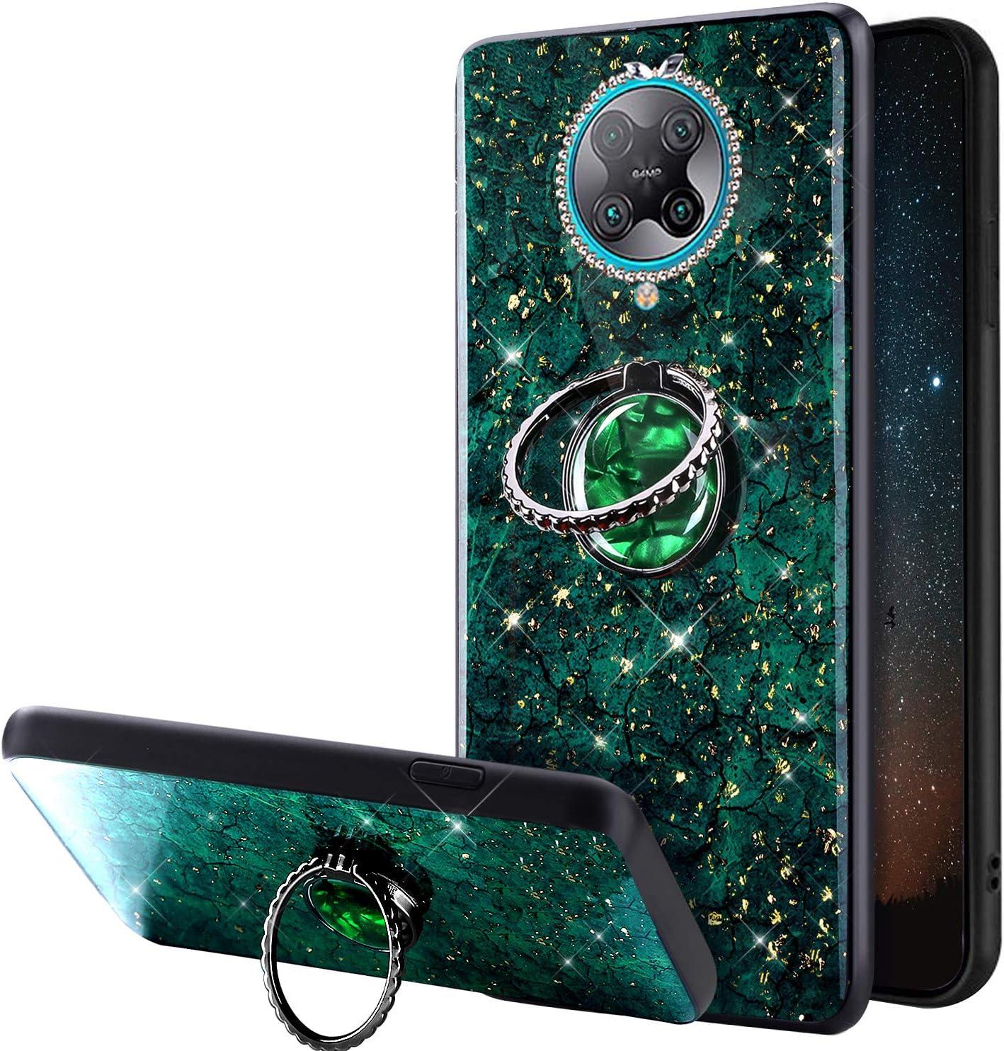 Funda Compatible con Xiaomi Redmi K30 Pro Carcasa Case Polvo de Brillo Purpurina Glitter Bling Rhinestone Anillo Soporte TPU Silicona Gel Bumper Ultra Slim Antigolpes Protectora Cover Cubierta,Verde