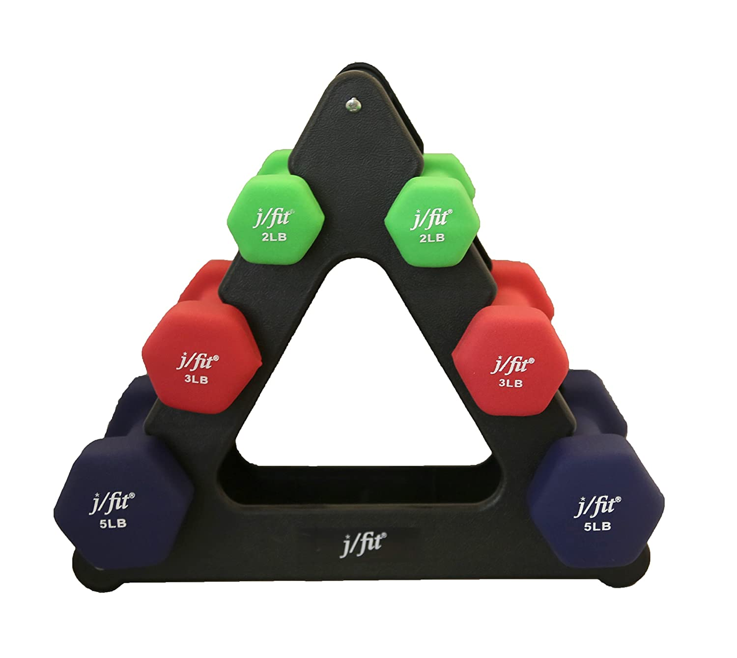 j/fit Dumbbell Set w/Durable Rack | Solid Design | Double Neoprene Coated Workout Weights Non-Chip and Flake | Dumbbells Sets For Gyms, Pilates, MMA, Training (18lb Set) 20-5203