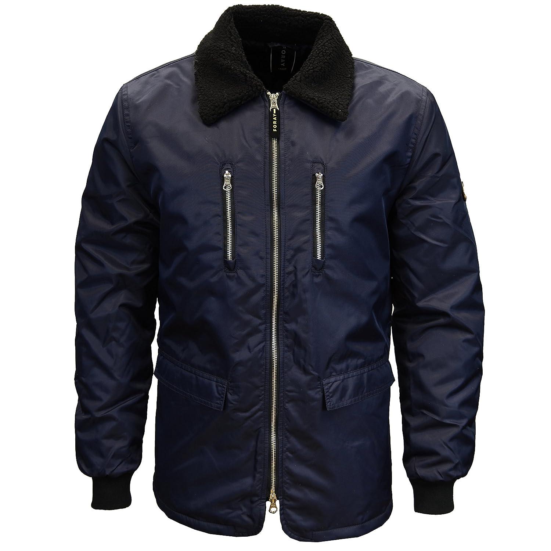 Foray Mens Designer Branded Fur Trim Collar Military Bomber Jacket