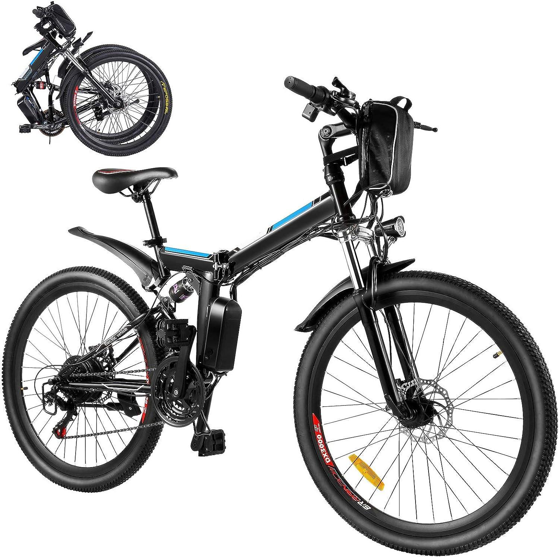 Bicicleta eléctrica eléctrica, bicicleta eléctrica plegable de 26 pulgadas, 250 W, con batería extraíble de 8 Ah, marchas profesionales de 21 marchas, para hombre y mujer