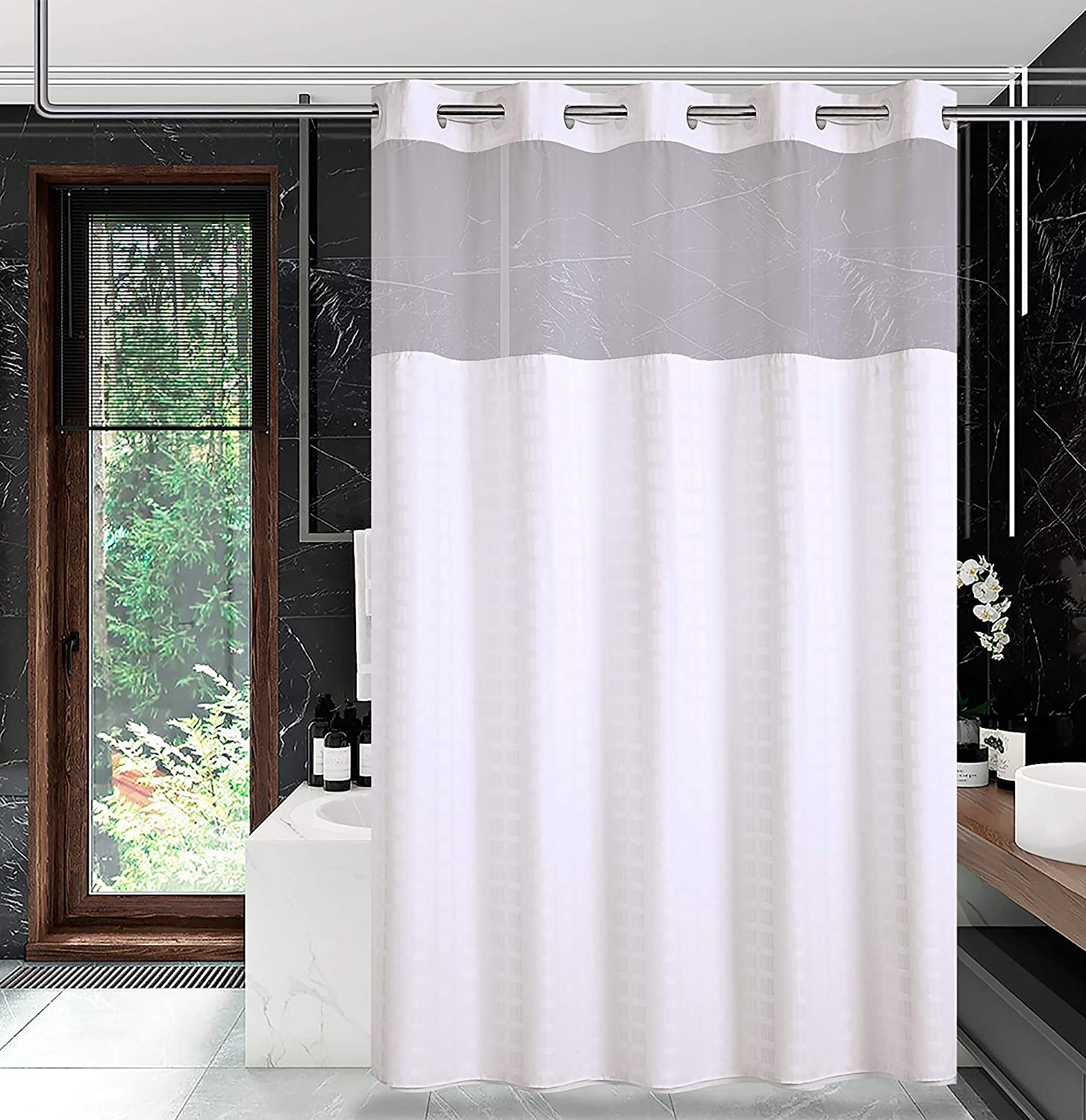 Conbo Mio Hotel Style Fabric Shower Curtain No Hooks Needed With Snap In Liner For Bathroom Machine Washable Waterproof Repellent Wide Shower Curtain Check White 71 W X 74 H Kitchen Dining