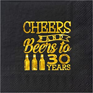 Crisky 30th Birthday Cocktail Napkins Black and Gold, Beverages Napkins for 30th Birthday Anniversary Decorations Cheers to 30 Years, 50 PCS, 3-Ply
