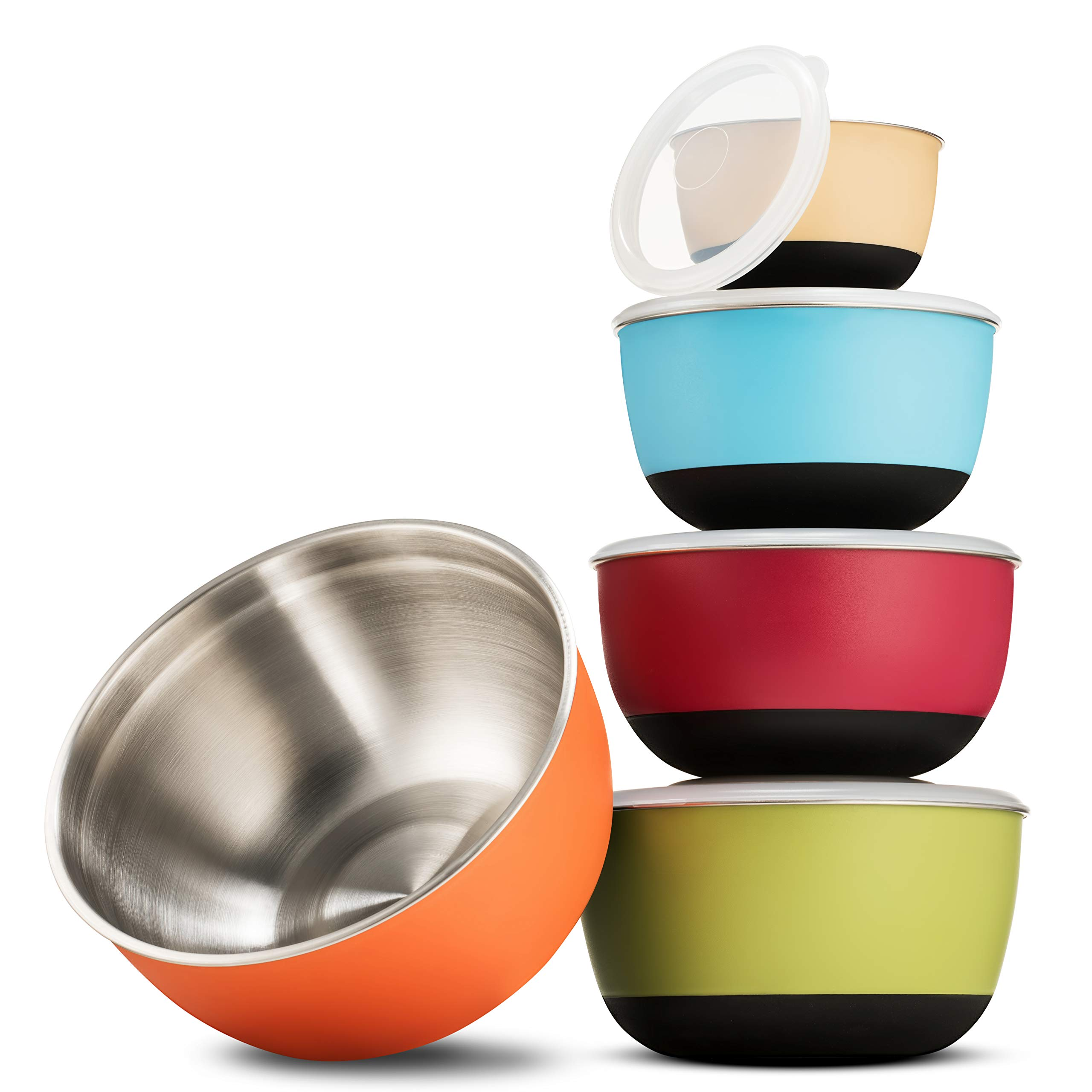 Premium Multicolor Stainless Steel Mixing Bowls with Airtight Lids (Set of 5) Nesting Bowls for Space Saving Storage, Non-Slip Bottoms for Stability, Mixing Bowl Set For Cooking, Baking & Food Storage by FINEDINE