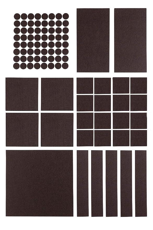 Premium Filzgleiter Set selbstklebend - 5x 200 x 200 mm + 64x Ø 20 mm (rund) - Möbelgleiter, Stuhlgleiter, Bodengleiter, Filz