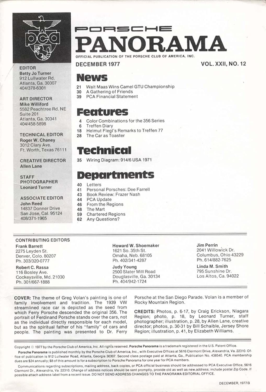 Porsche Panorama Walt Maas Helmut Flegl Treffen Dee Farrell Frazer Barrett Wiring Diagram Nash 12 1977 At Amazons Entertainment Collectibles Store