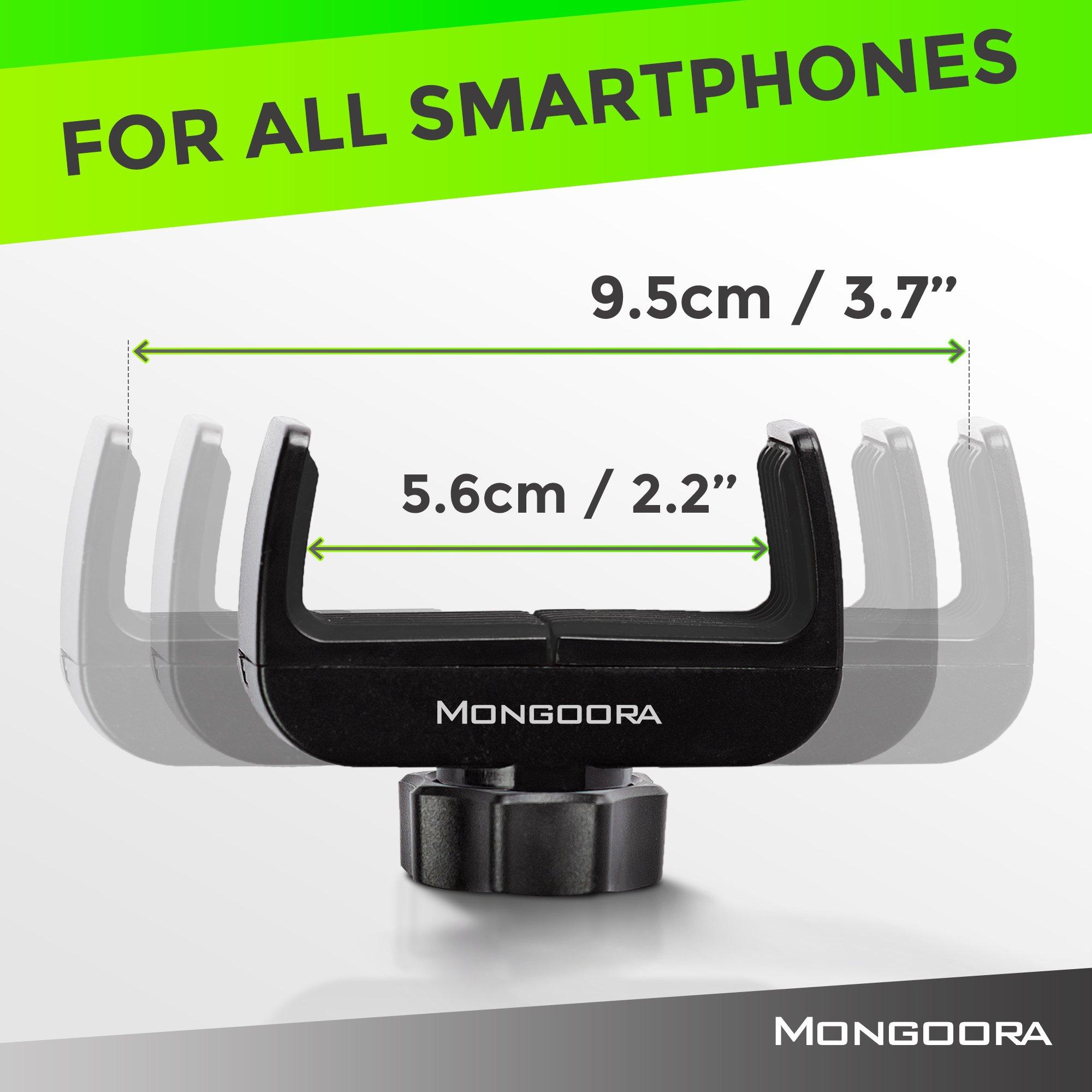 Bike Phone Mount for any Smart Phone: iPhone X 8 7 6 5 plus Samsung Galaxy S9 S8 S7 S7 S6 S5 S4 Edge, Nexus, Nokia, LG. Motorcycle, Bicycle Phone Mount. Mountain Bike Mount. Bike Accessories. by Mongoora (Image #4)