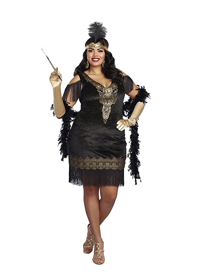 1920s Plus Size Flapper Dresses, Gatsby Dresses, Flapper Costumes Dreamgirl Womens Plus Size Swanky Flapper  AT vintagedancer.com