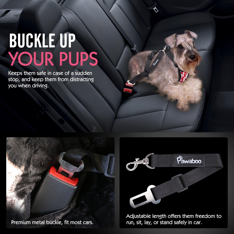 Pet Dog Adjustable Car Safety Mesh Harness Travel Strap Vest with Car Seat Belt Lead Clip Extra Large Size Pawaboo Dog Safety Vest Harness BLACK
