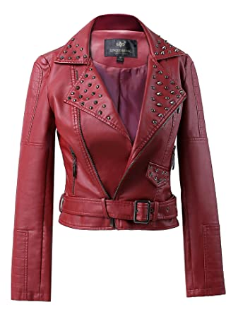 5f215cea5164 Mooncolour Women Punk Studded Rivet Faux Leather Zip-up Bomber Moto Jacket  Wine Red
