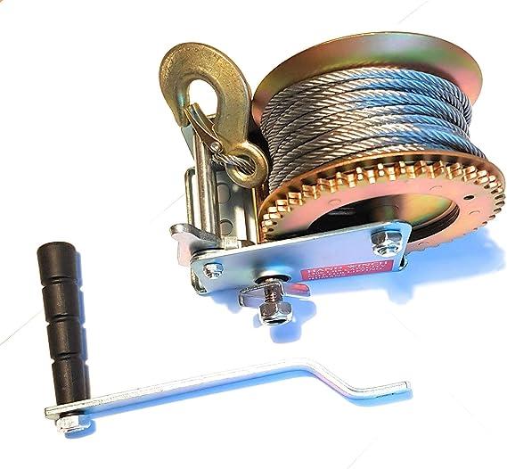Roulettes /à manivelle Avec treuil /à main Treuil manuel /à cliquet 540 kg Corde en acier Treuil de bateau En acier Cordon de serrage