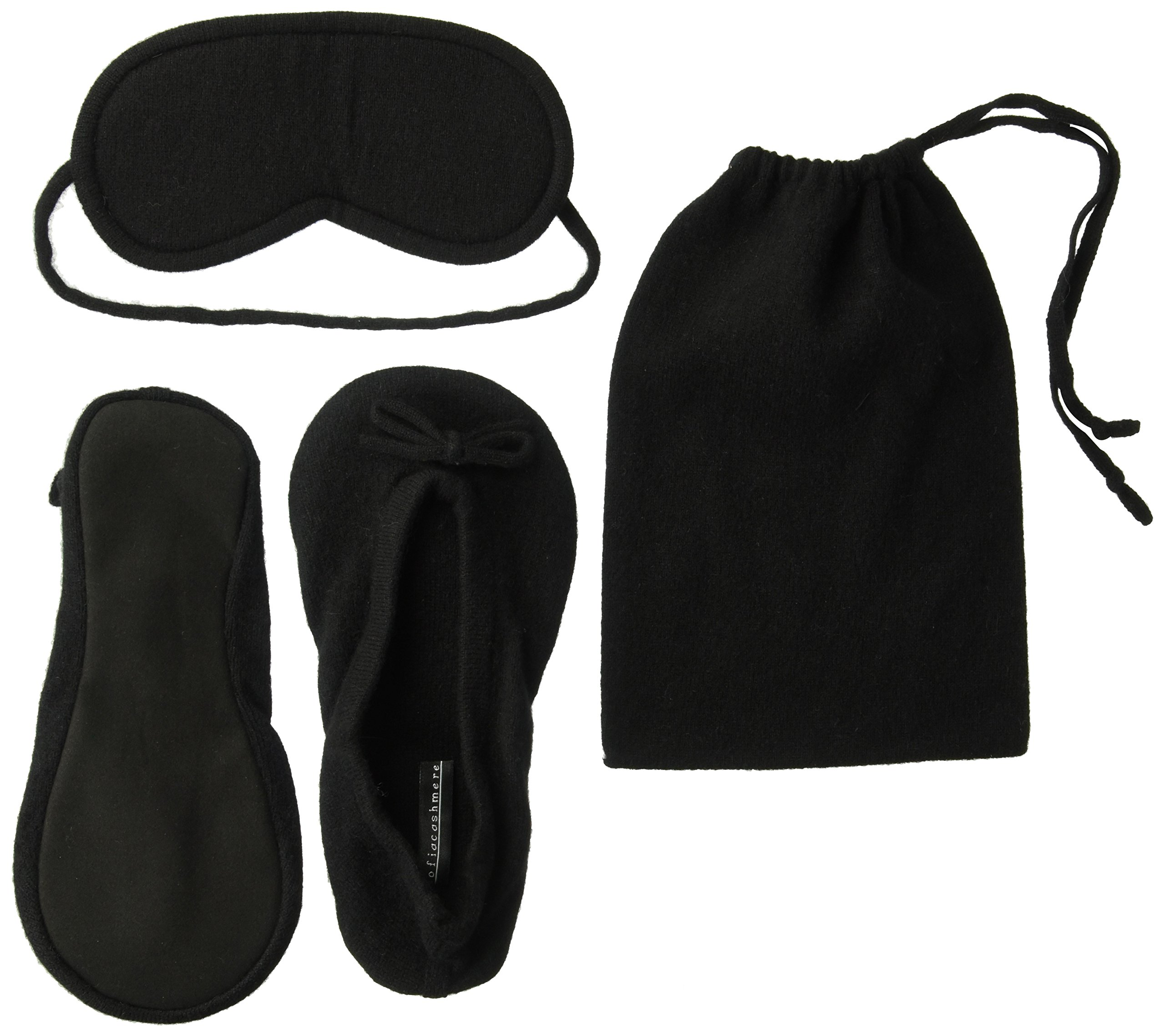 Sofia Cashmere Women's Cashmere Travel Set with Drawstring Pouch, black, S/M