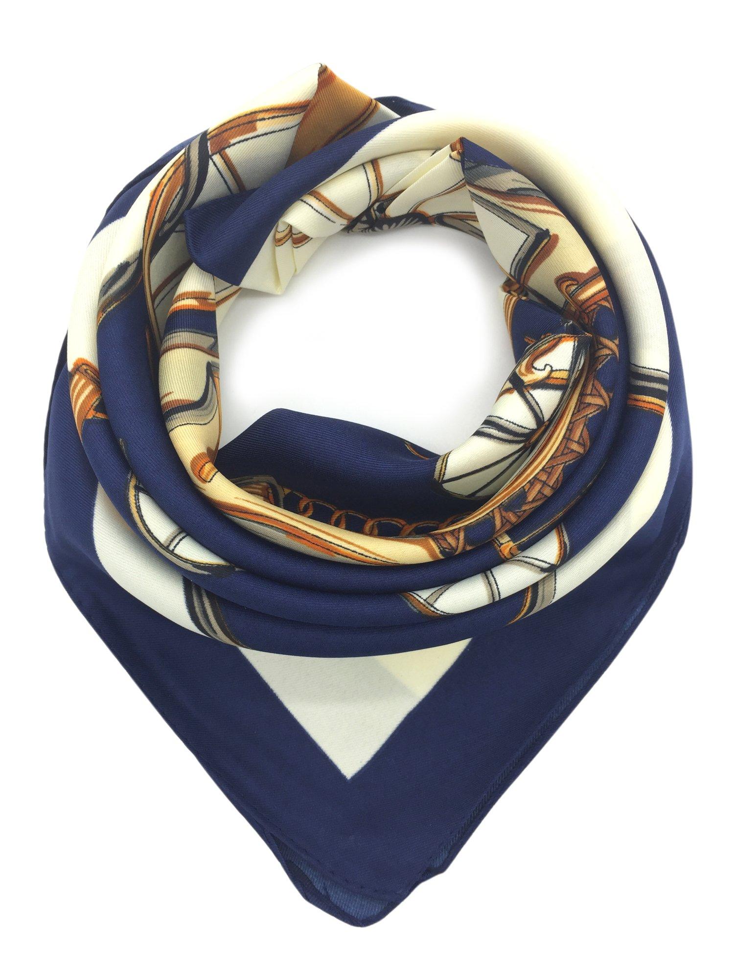 "YOUR SMILE 100% Silk Scarf Women's Fashion Pattern Large Square Satin Headscarf Headdress 24""x24"""