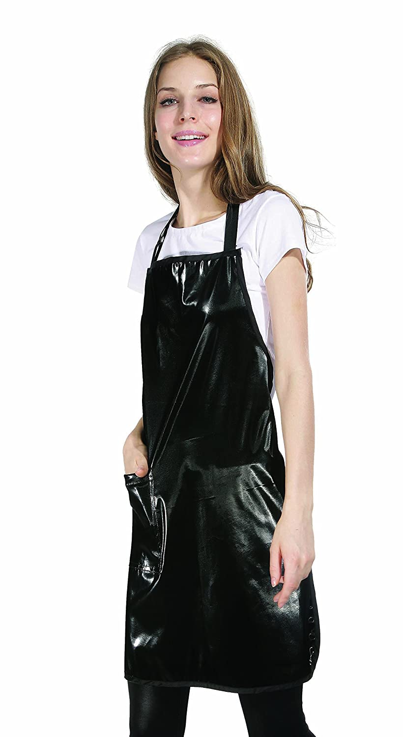 Black Shiny PU Coated Waterproof Tint Resistant Hairdressing Colouring Apron