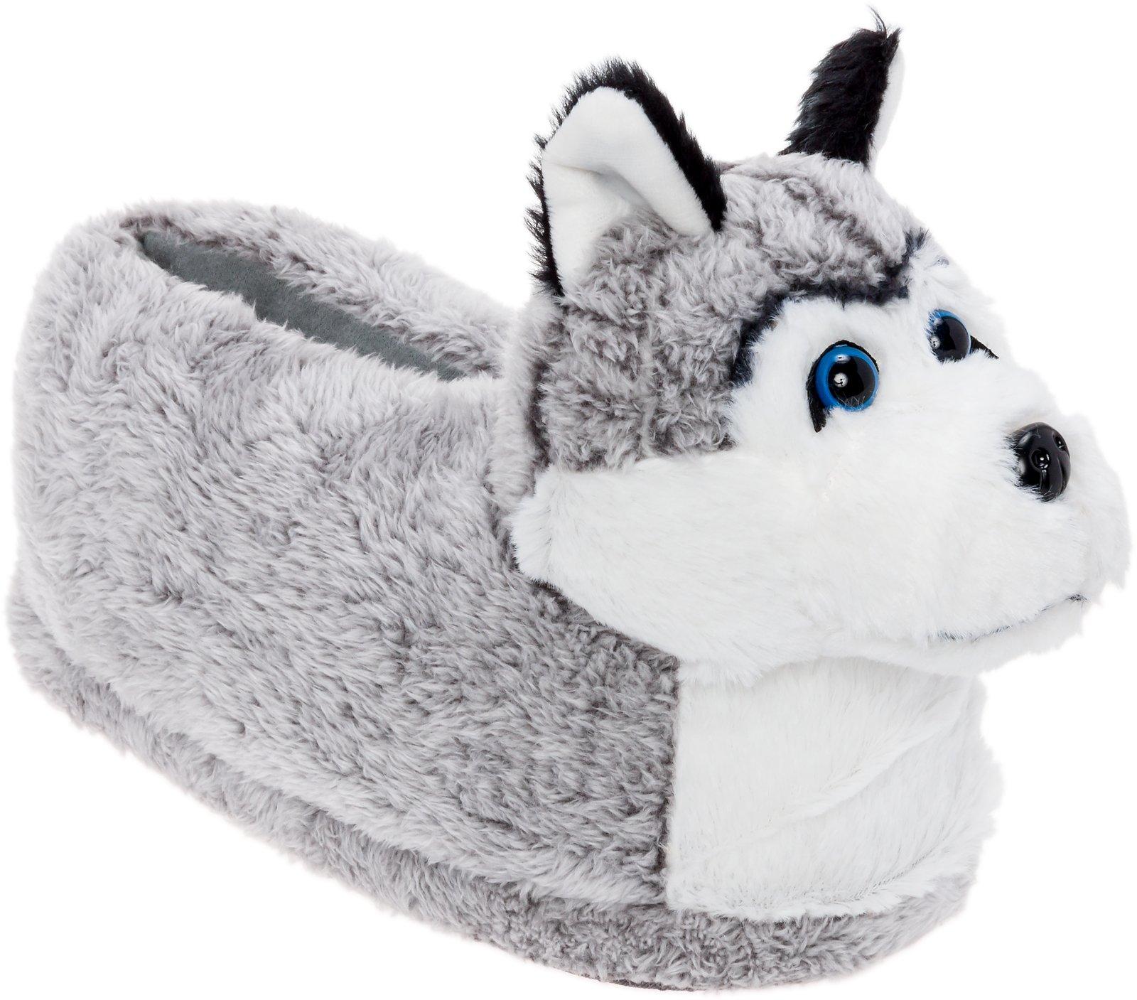 Silver Lilly Siberian Husky Slippers - Plush Dog Slippers w/Platform by (Grey/White/Black, Medium)