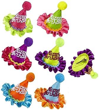 Amazon Neon Happy Birthday Mini Cone Hat Hair Clip Clothing