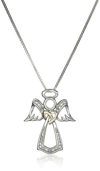 Amazon love knot sterling silver and 14k yellow gold angel love knot sterling silver and 14k yellow gold angel white diamond accent pendant necklace aloadofball Image collections