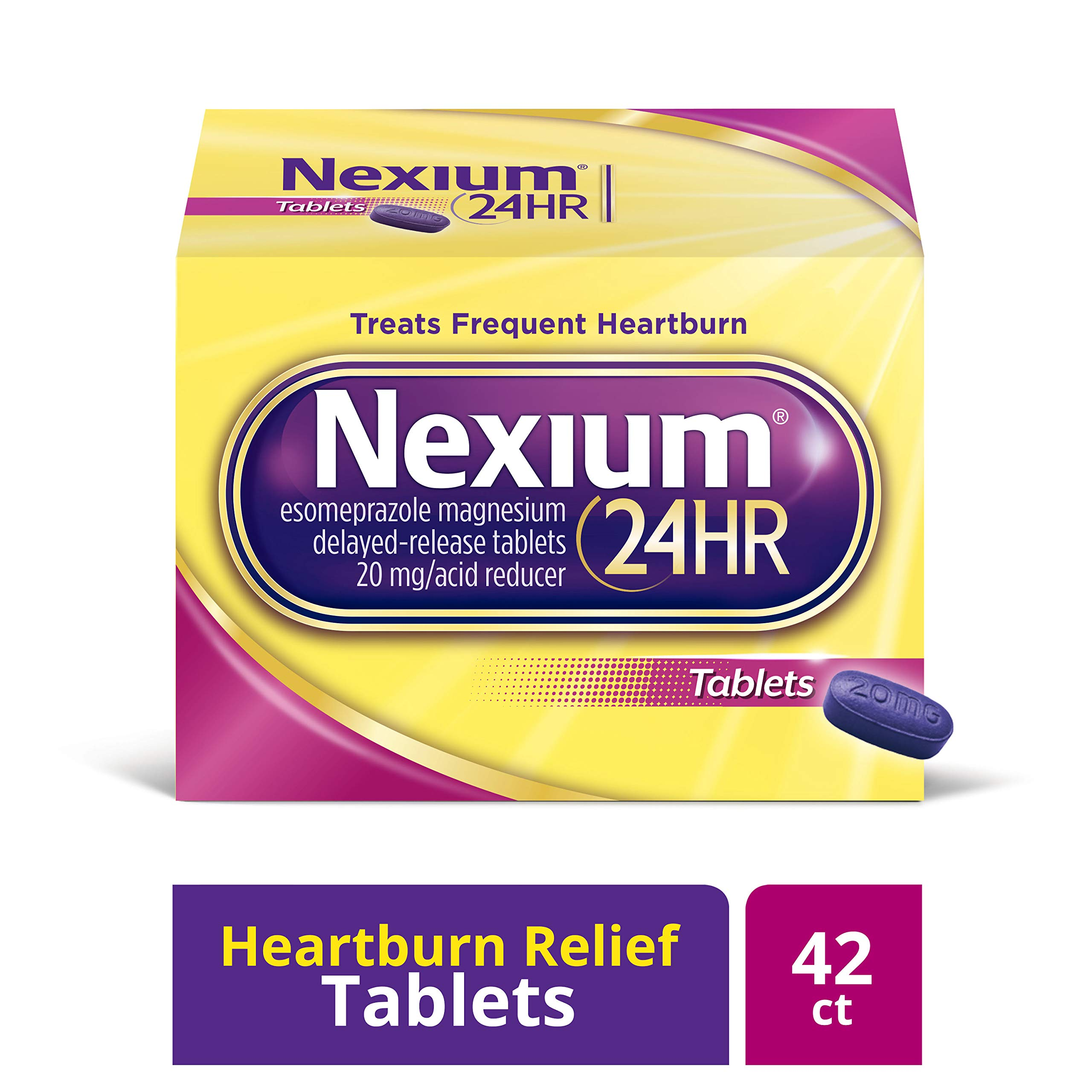 Nexium 24HR (42 Count, Tablets) All-Day, All-Night Protection from Frequent Heartburn Medicine with Esomeprazole Magnesium 20mg Acid Reducer by Nexium