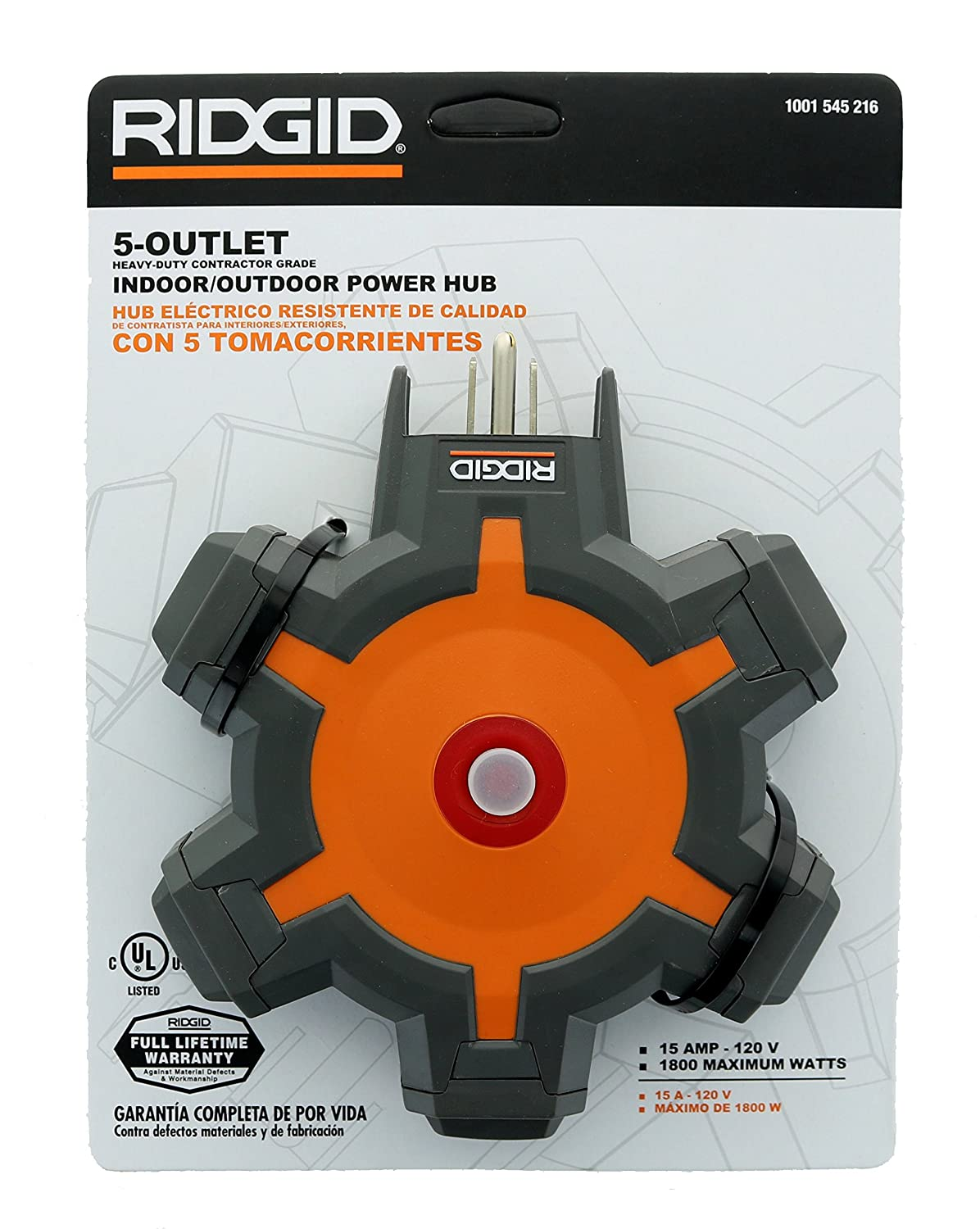 Amazon.com: Ridgid 36009 2 Pack of 5-Outlet Surge Protected Polycarbonate Indoor / Outdoor Power Hub (15 Amps, 120 Volts): Computers & Accessories
