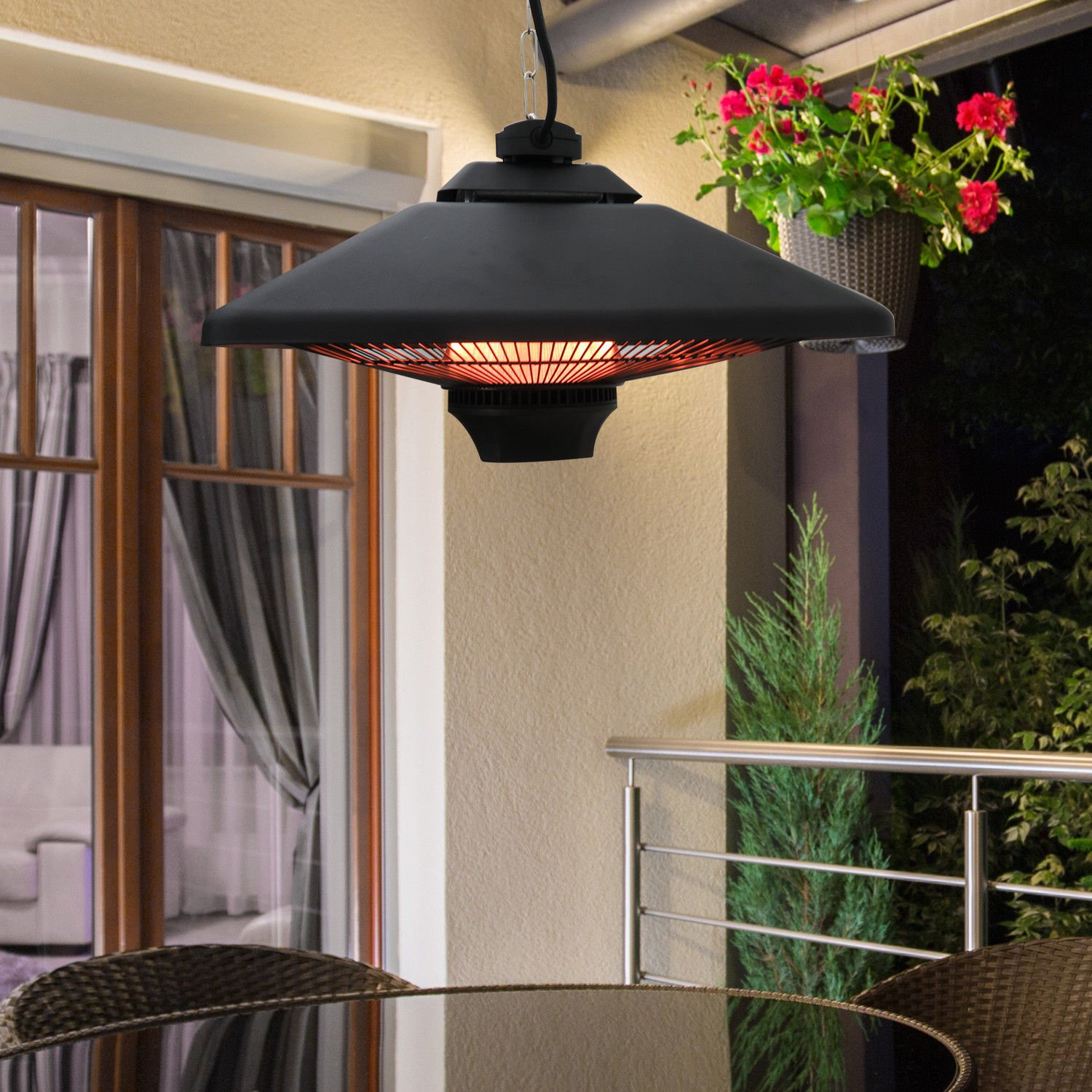 New MTN G 1500w Outdoor Hanging Ceiling Electric Halogen Patio Heater  Remote Control W/