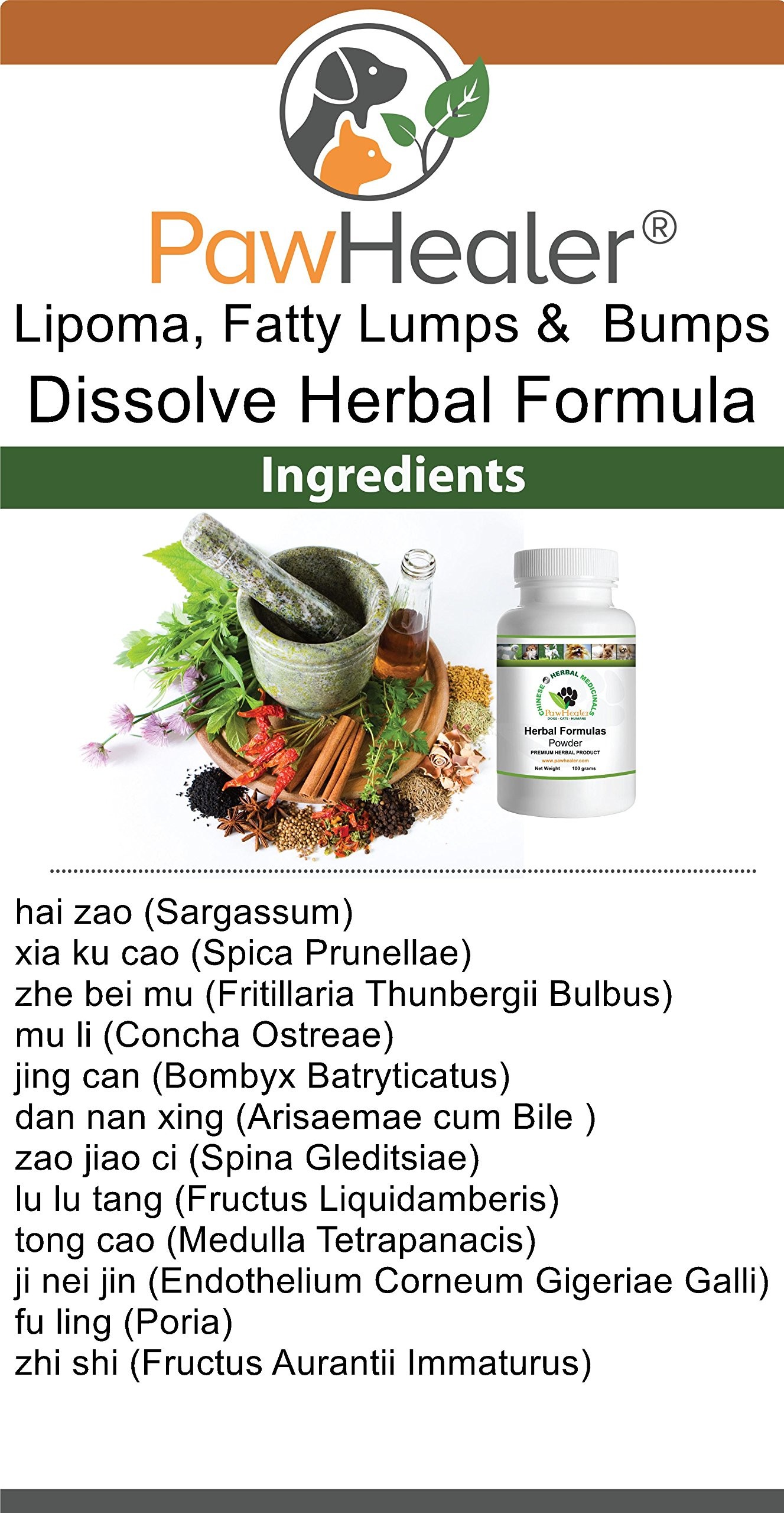 Dissolve Herbal Formula - 2 Pack - Fatty Lumps & Bumps Remedy for Dogs & Pets - 100 Grams Powder/ea by PawHealer