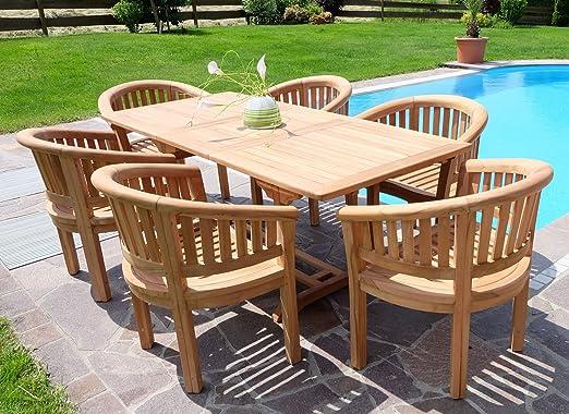 ASS Rústico Super Puede Teca jardín Mobiliario de jardín Muebles de jardín Mesa Extensible 150 – 200 cm + 6 Sillón Coco Madera barnizada de as de S: Amazon.es: Jardín